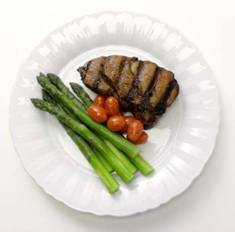 Image: Steak dinner w/ asparagus and tomatoes
