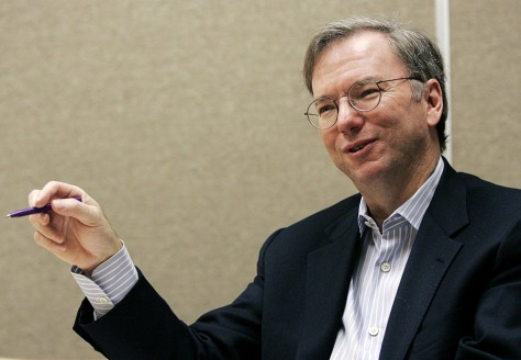 Schmidt, chairman and chief executive office of Google Inc., is interviewed by Reuters in Palo Alto