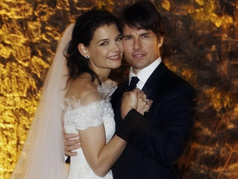 Actor Tom Cruise and Katie Holmes in their official wedding portrait in Italy.