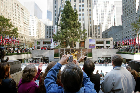Christmas Tree Installed At Rockefeller Center