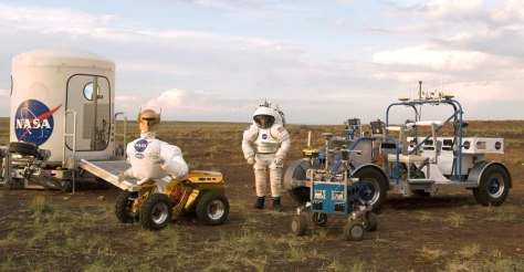 Image: Athlete, Robonaut, Suited Astronaut, K-10, and SCOUT