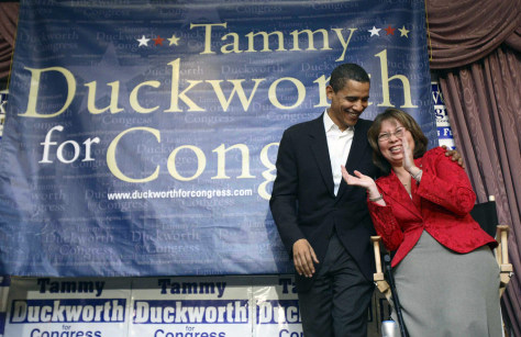 U.S. Senator Obama shares a laugh with Iraq War veteran and Democratic Congressional candidate Duckworth in Elmhurst