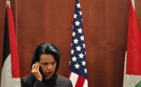 U.S. Secretary of State Condoleezza Rice listens to the questions in Jericho