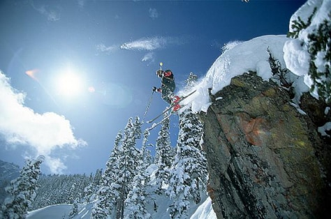 Skiing Off Cliff