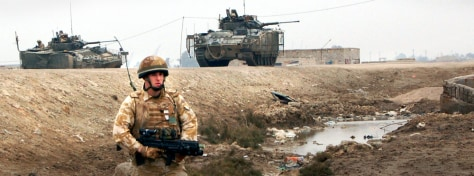 IMAGE: British soldier patrols near Basra