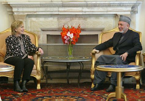 Hillary Rodham Clinton, Hamid Karzai