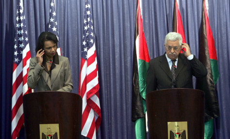 IMAGE: Condoleezza Rice and Mahmoud Abbas