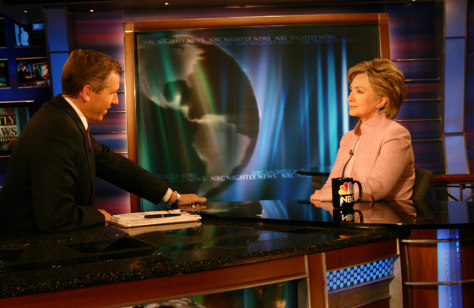 IMAGE: Brian Williams, Sen. Hillary Clinton