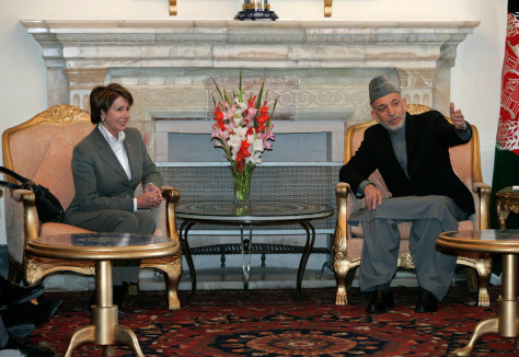 Afghan President Hamid Karzai and Nancy Pelosi