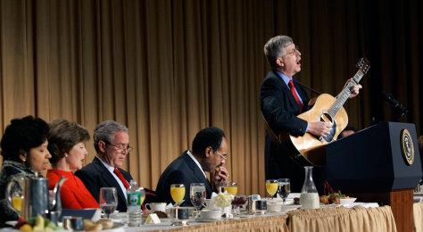 Image: George W. Bush, Laura Bush, Francis Collins, Emanuel Cleaver, Diane Cleaver