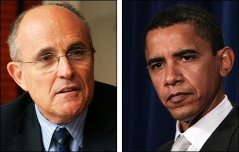 IMAGE: Rudolph Giuliani and Barack Obama