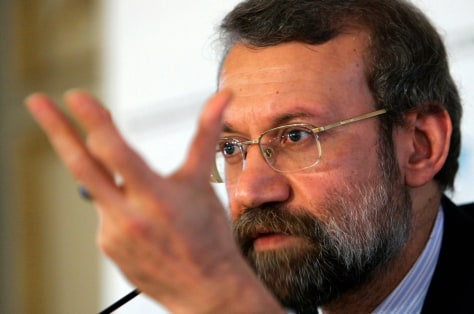 Iran's top nuclear negotiator Larijani at a news conference after the 43rd Conference on Security Policy in Munich