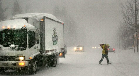 IMAGE: TRUCK DRIVER IN SNOW