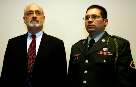 US Army medic and self-described conscientious objector Agustin Aguayo and his lawyer Court at the Leighton Barracks in Wuerzburg, Germany