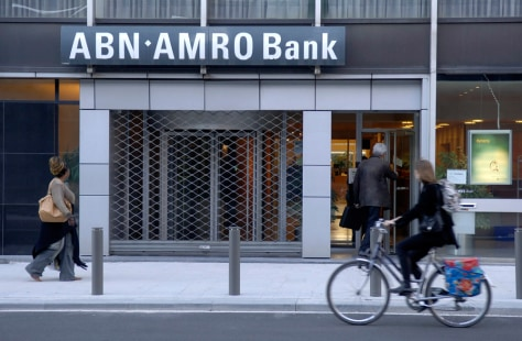 A branch of the Dutch bank ABN Amro in the diamond district of Antwerp, Belgium