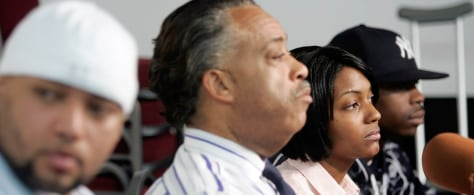 Rev. Al Sharpton with Joseph Guzman, Nicole Paultre-Bell and Trent Benefield