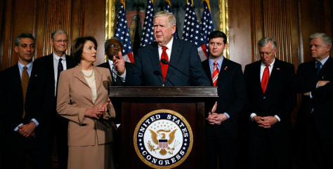 Rep. John P. Murtha, D-Pa., House Speaker Nancy Pelosi and other Democratic leaders.