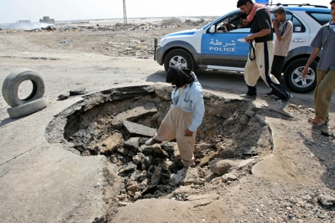 Image: Bomb crater in Iraq