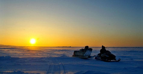 IMAGE: SNOWMOBILE ON ARCTIC ICE