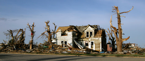 Image: Tornado-damaged home