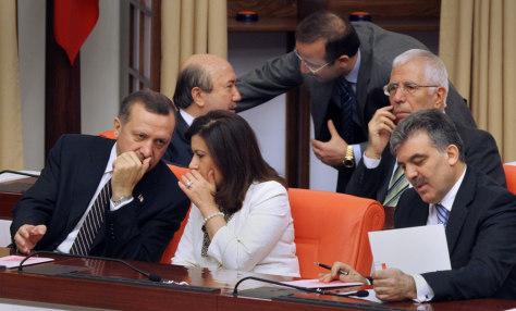 IMAGE: Recep Tayyip Erdogan, Abdullah Gul, Nimet Cubukcu, Mehmet Aydin, Kemal Unakitan