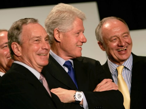 IMAGE: CLINTON WITH BLOOMBERG AND LONDON MAYOR