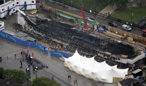 An aerial view shows damage to the Cutty Sark following a fire, in London
