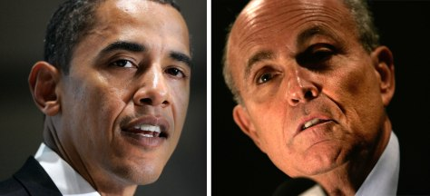 Image: Sen. Barack Obama, D-Ill., former Mayor Rudy Giuliani, R-NYC.