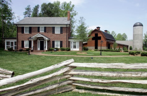 Image: Billy Graham's childhood home, left, and the new Billy Graham Library.