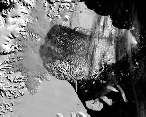 IMAGE: SATELLITE IMAGE OF ICE SHELF BREAKUP