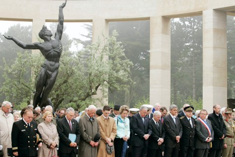 IMAGE: Dignitaries attend ceremony marking 63rd anniversary of D-Day invasion at American Cemetery in Colleville-sur-Mer