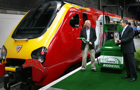 Sir Richard Branson and biofueled train