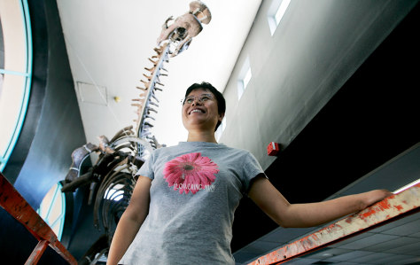 Image: Wei Mingrui, head of paleontology at the Beijing Museum of Natural History, poses under a Chinese dinosaur at the Miami Science Museum.