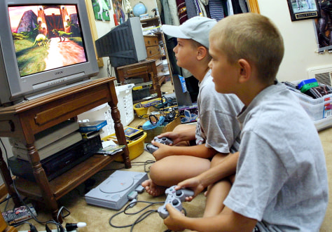 Image: Kids playing violent video game
