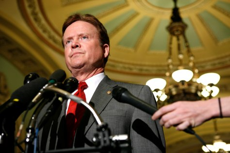 U.S. Senator Jim Webb of Virginia speaks to the media on Capitol Hill