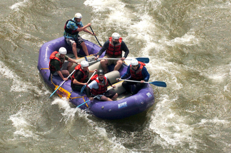 Image: whitewater rafters