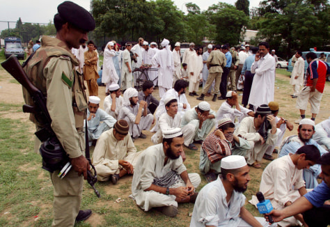 IMAGE: Pakistani religious students surrendering.