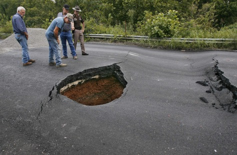 Image: Sinkhole damage to road
