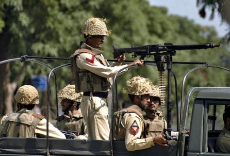 IMAGE: Soldiers patrol near Lal Masjid