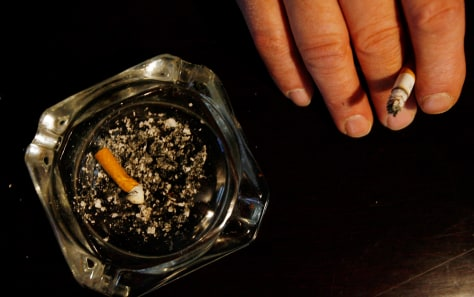 Image: Smoker's hand and ashtray