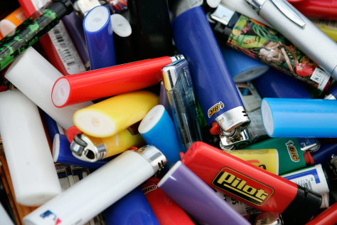 IMAGE: Confiscated cigarette lighters at Dulles Airport.