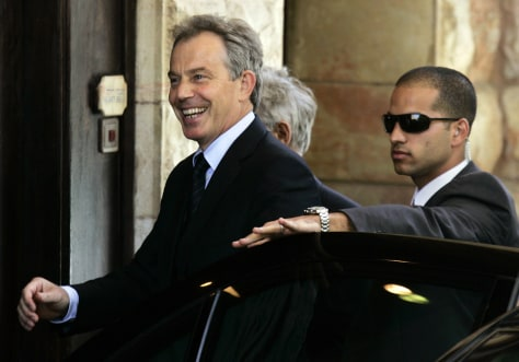 IMAGE: Prime Minister Tony Blair arriving at the King David Hotel in Jerusalem.