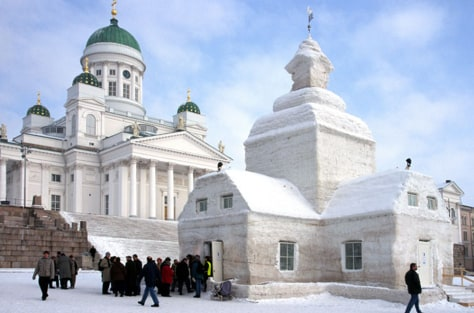 Image: Helsinki Cathedral and chapel of ice Helsinki Finland