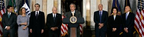 George W. Bush, Susan Schwab, Carlos Gutierrez, Dick Cheney, Joel Kaplan, Henry Paulson, Elaine Chao, Ed Lazear