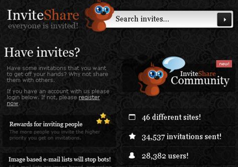 Image: New Web site InviteShare