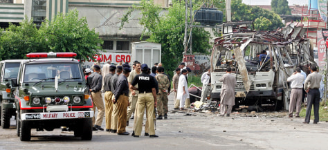 IMAGE: Bus wreckage in Rawalpindi
