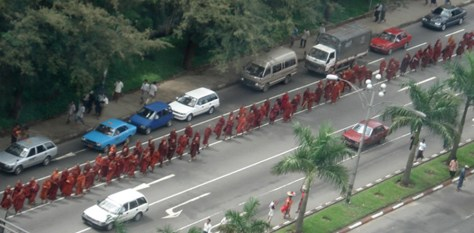 IMAGE: MONKS PROTESTING