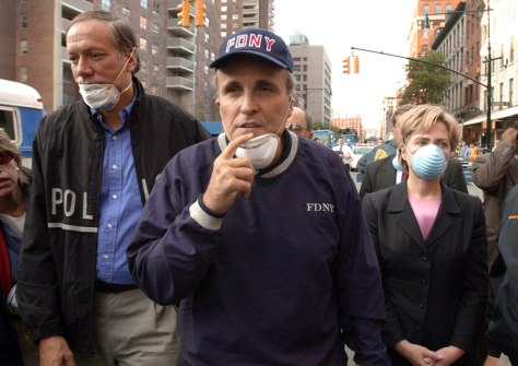 IMAGE: Pataki, Giuliani and Clinton at Ground Zero.