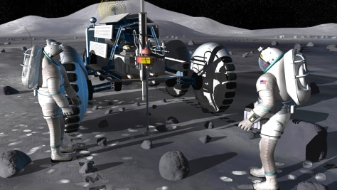 Image: Lunar rover equipped with a robotic drill