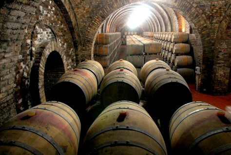 Image: Oak casks with Port wine at the Wunderlich Wine-cellars in Villany, Hungary